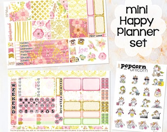 Floral Shimmer weekly kit / set - for MINI HAPPY PLANNER stickers - Popcorn Unicorn glitter spring may june summer gold weekend checklist