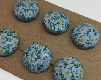 Hand Made Fabric Covered Buttons, Flowers