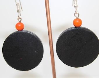 Wooden Earrings, Casual, Black, Orange,