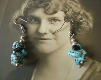 Vintage Chunky Turquoise Chip Drop Earrings Southwestern Jewelry