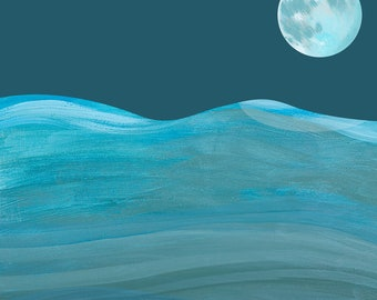 Mond Druck. Kunstdruck. Wanddekoration. maritim. Kinderzimmer. Kinderbuch. Kinderbuchillustration. Nacht. Meer