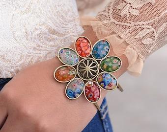 Millefiori Glass Flower Cuff Bracelet, Murano Glass, Rainbow Bracelet, Festival Jewelry, Millefiori Jewelry, 60s Retro Boho Bracelet BR524