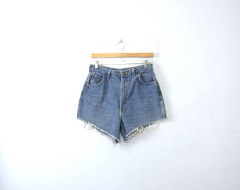 Vintage 80's cut off denim shorts, high waisted jean shorts, size 14 / 12