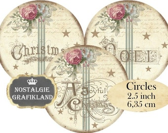 Christmas Noel Words Shabby Chic Wishes Greetings Instant Download digital collage sheet C113 Circles 2.5 inch