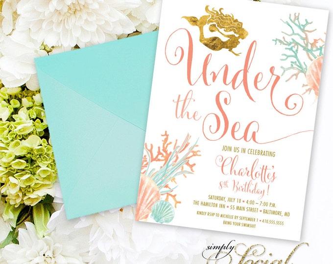 Under the Sea Mermaid Birthday Party Invitation - Boho Swimming Party Invitation Coral Faux Gold Foil Beach Invitation Watercolor