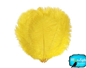 "Ostrich Feathers, 1/2 lb - 9-13"" YELLOW Ostrich Drab Wholesale Feathers (Bulk) : 2041-D"