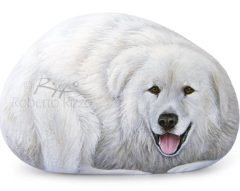 Sweet Maremma Sheepdog Painted on A Smooth Sea Rock | Incredibly Detailed Rock Art by Roberto Rizzo |  Hand Painted Pets Dog Fine Art