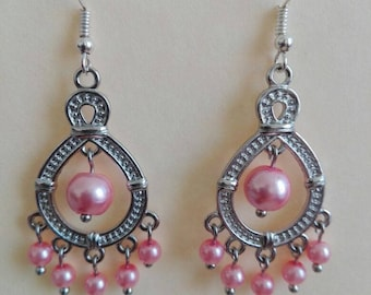 Earrings with pink pearls