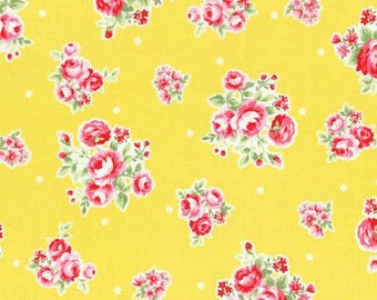 Flower Sugar Spring 2015 Pink Roses Cotton Fabric  by Lecien 31129-50 Yellow