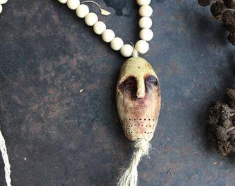 Ancient god necklace, beige shaman necklace, primitive strenght amulet, pagan god necklace, off-white ceramic necklace, bohemian necklace