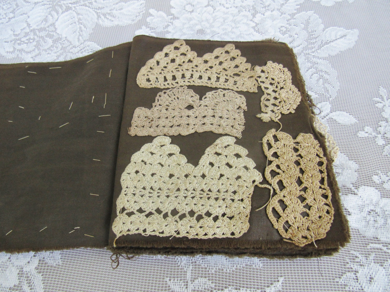 Antique Lace Sample book, Crocheted Lace pattern book, Hand stitched ...