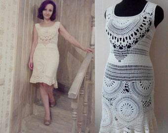 crochet dress/cream dress/gentle  dress/crochet cream dress/summer dress