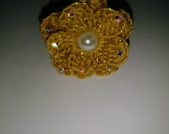 Crochet Ring, Swarovski Crystal, Pearl Ring