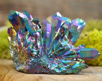 Rainbow Titanium Aura Crystal Cluster  - Perfect for Healing Grids and Terrariums 1210.18