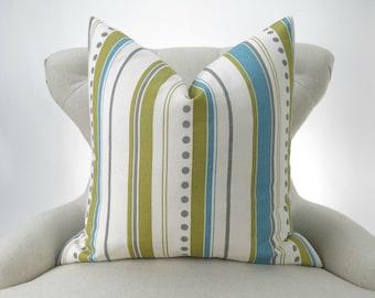 Blue Green Floor Pillow Cover - Euro Up to 28x28 - Stripe Citrine Gray Dot Brook Summerland Premier Prints - decorative cushion throw sham