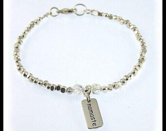 Namasta fine silver bracelet, Namasta jewelry, fine silver bracelets,