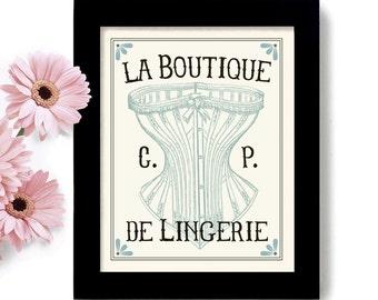 French Decor Bedroom Corset Boudoir Art Paris France Lingerie Art Parisian Art Print Powder Room Boutique Art