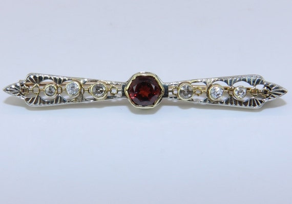 Antique Pin Victorian Edwardian Brooch Diamond and Spessartite Garnet Brooch Pin 14K Yellow Gold