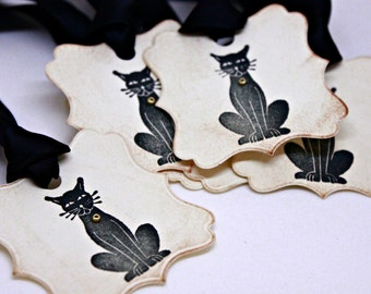 Halloween Gift Tags (Double Layered) - Black Cat Tags - Vintage Inspired Handmade Halloween Tags - Treat Tags (Set of 8)