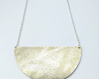 half moon leather necklace, geometric