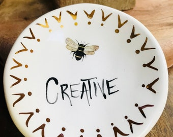Bee Creative 22K gold detail Handmade Ceramic Dish for Rings or Spoon Rest or Desk Accessory