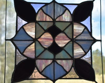Moroccan Flower Stained Glass Panel