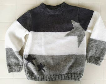 Sweater girl gray and white stars hand knitted