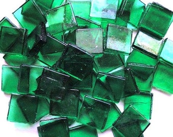 "15mm (3/5"") Pine Green Transparent Glass Mosaic Tiles//Mosaic Supplies//Crafts"