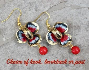 Vintage Enamel Flower Earrings, Upcycled Assemblage Pierced Gold, Red, Glass Drop, Hook, Choice Options, Jennifer Jones, OOAK - Black Iris