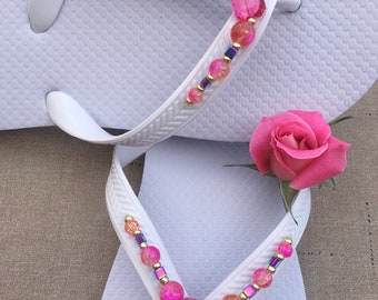 Pink beaded white flip Flops size 7