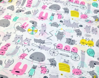 Cloud9 Fabrics Monsterz Mash in pink by Michele Brummer Everett - 1 yard