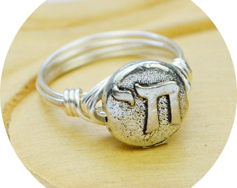Chai Ring- Pewter Bead and Sterling Silver Filled Wire Wrapped Ring - Any Size 4, 5, 6, 7, 8, 9, 10, 11, 12, 13, 14