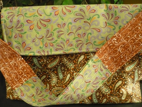 Paisley Green & Brown Purse Flappy Diaper Bag
