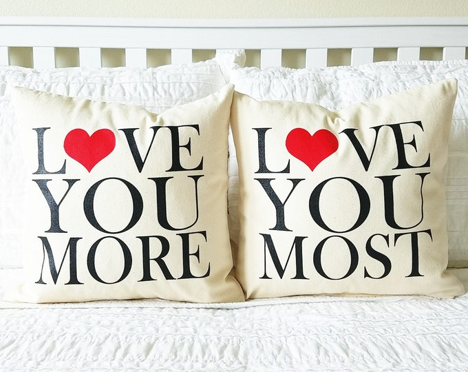 """Tangled """"Love You More & Most"""" Pillows - Mother's Day Gift, Gift for Her, Gift for Mom, Home Decor, Cushion Cover, Pillow Cover"""