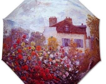 Foldable umbrella - painter MONET: Dahlias