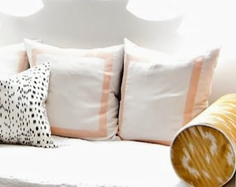 Fretwork Frame Ivory Linen with Peach Tape Trim- Pillow Cover