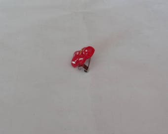 Ruby quartz snowman on mini pin 1.5 cm