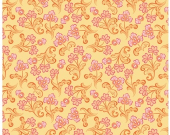 Modern Lace Reticella Yellow Fabric Yardage By Amanda Murphy For Blend Fabrics Sold By the Half Yard In One Continuous Cut