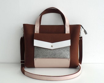 Felt Leather Handbag Brown Pink Gray White