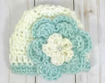 Crochet baby hat, crochet preemie hat, baby girl hat, premie hat with flower, baby hat
