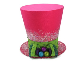 Candy Christmas tree topper, Bright colored christmas tree topper. Candy Top hat decoration, Christmas decoration