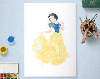 Snow White, Disney Princess, Snow White and the Seven Dwarfs Poster, Watercolour Art, Printable Instant Download
