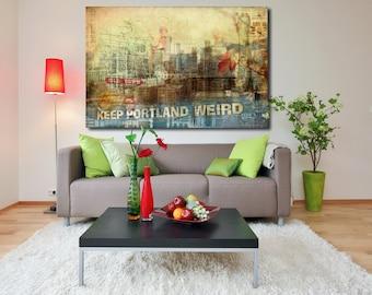 Portland Oregon Art Photo Collage Gallery Canvas Wrap | Fine Art Collage | Keep Portland Weird