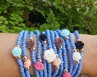 Spring garden - friendship bracelet - layered bracelets - rose bracelets - stack jewelry - festival jewelry - bohemian bracelets - present