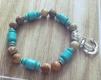 Chunky Stretch Bracelet, blue, turquoise, Brown, marble, ink, boho, gift, Bohemian, made with love Jasper