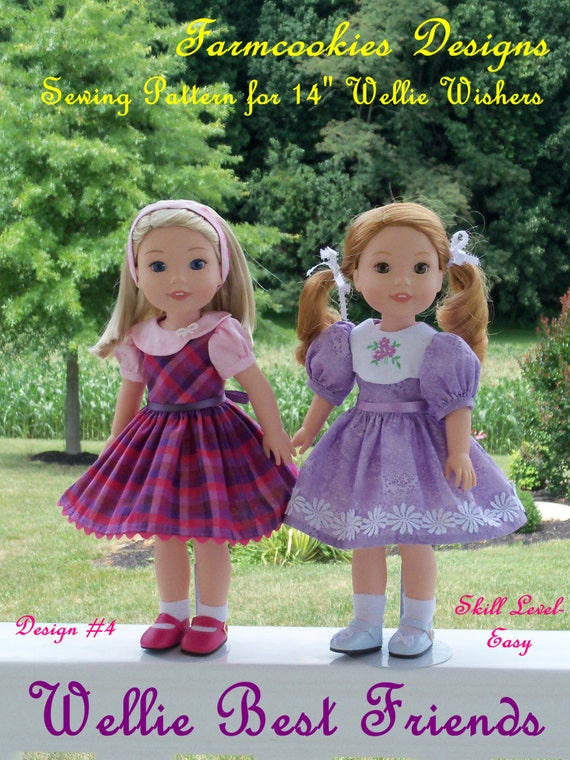 """PRINTED Sewing Pattern: Wellie Best Friends/ Sewing Pattern fits 14"""" American Girl ® Wellie Wishers®"""