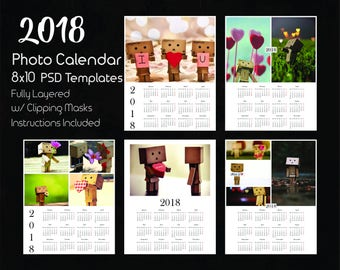 8x10 Photo Calendar Template 2018, 5 PSD Templates, Photoshop Calendar Templates, 2018 Calendar template, Photoshop