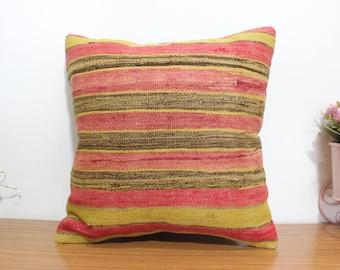 striped kilim pillow cover anatolian home decorative kilim pillow striped kilim pillow cover 18x18 kilim pillow boho decorative case  MD 105