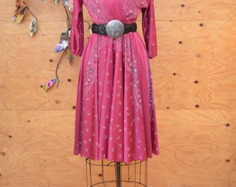 Vintage 70's Dusty Rose Floral Dress Great Everyday Look & Feel SZ S