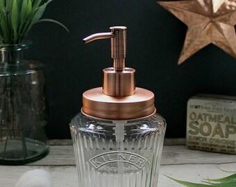 Vintage Kilner Mason Jar Soap Dispenser with Solid Copper Lid and Pump - *UK SELLER*